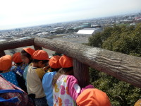 やったぞ!琴平山の頂上だ。高いなあ。